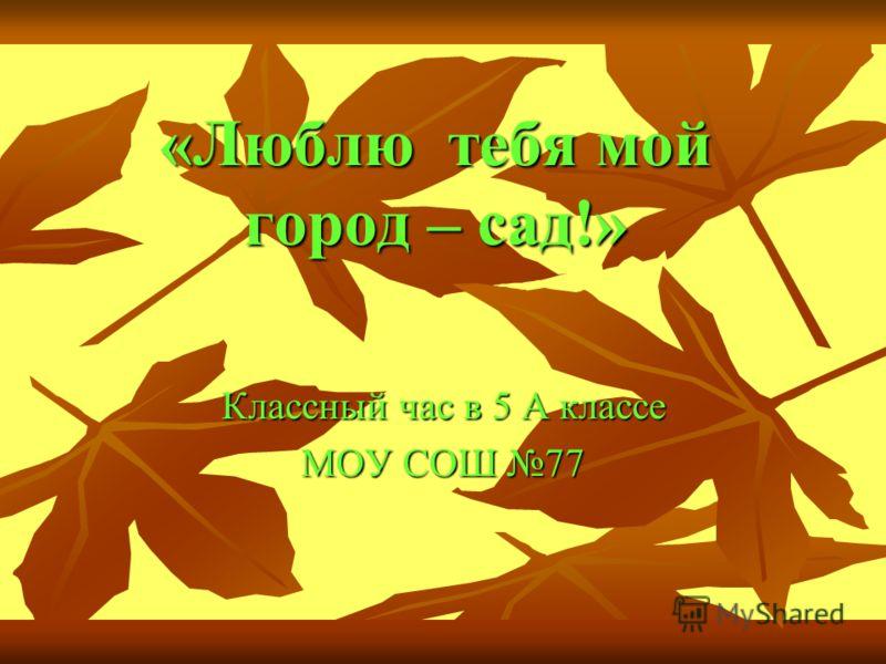 «Люблю тебя мой город – сад!» Классный час в 5 А классе МОУ СОШ 77