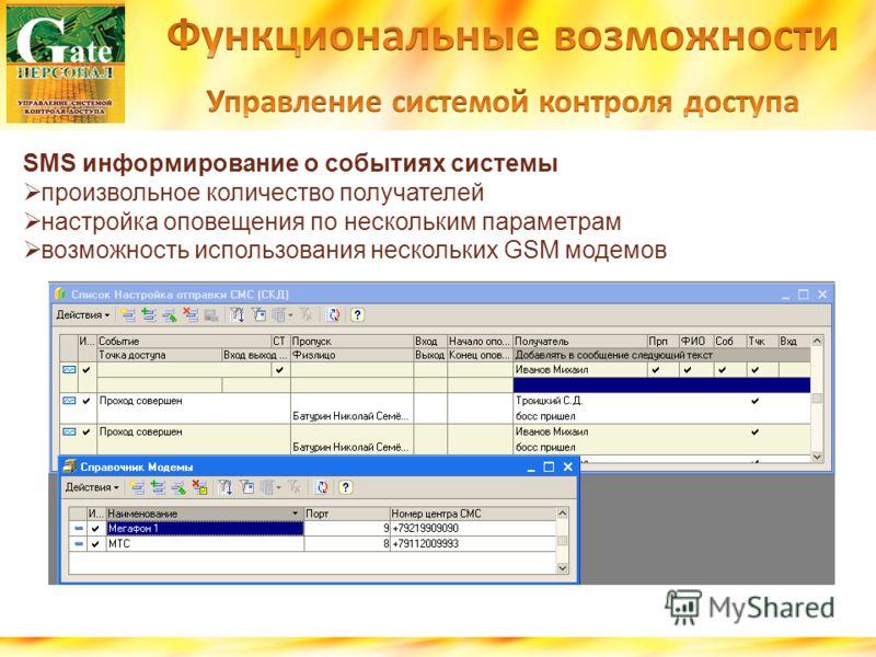 SMS информирование о событиях системы произвольное количество получателей настройка оповещения по нескольким параметрам возможность использования нескольких GSM модемов
