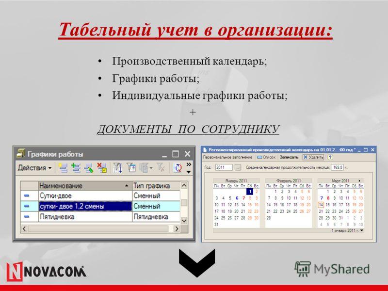 Табельный учет в организации: Производственный календарь; Графики работы; Индивидуальные графики работы; + ДОКУМЕНТЫ ПО СОТРУДНИКУ