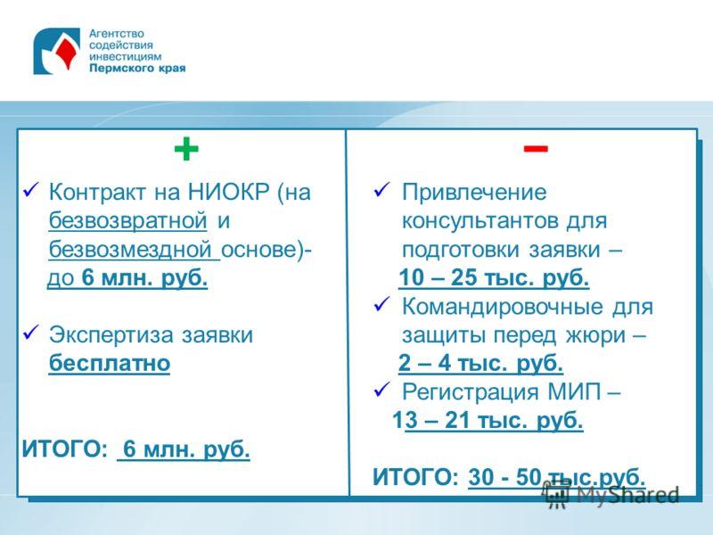 + Контракт на НИОКР (на безвозвратной и безвозмездной основе)- до 6 млн. руб. Экспертиза заявки бесплатно ИТОГО: 6 млн. руб. Привлечение консультантов для подготовки заявки – 10 – 25 тыс. руб. Командировочные для защиты перед жюри – 2 – 4 тыс. руб. Р