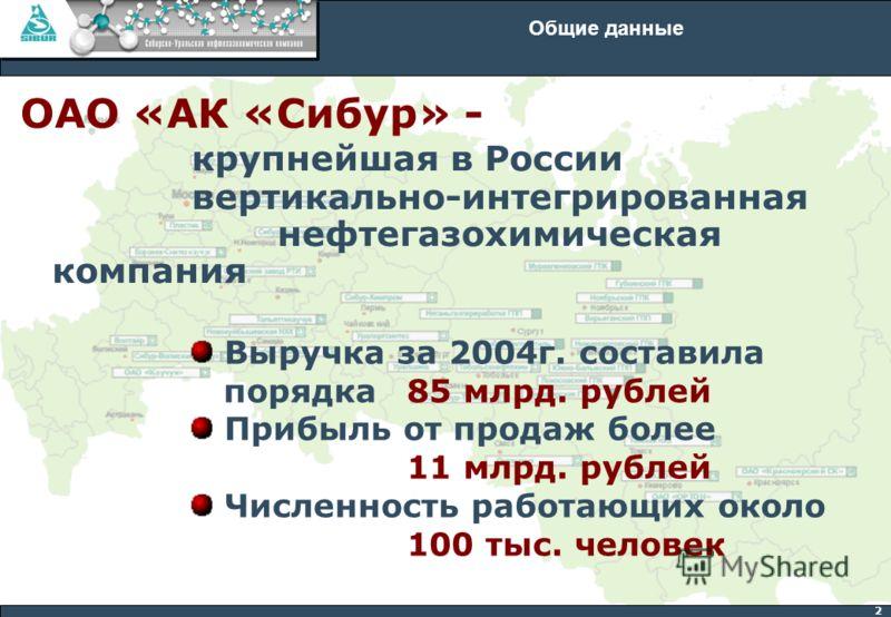 2 Общие данные ОАО «АК «Сибур» - крупнейшая в России вертикально-интегрированная нефтегазохимическая компания Выручка за 2004г. составила порядка 85 млрд. рублей Прибыль от продаж более 11 млрд. рублей Численность работающих около 100 тыс. человек