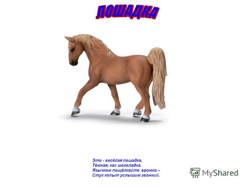 Это - весёлая лошадка, Тёмная, как шоколадка. Язычком пощёлкайте громко – Стук копыт услышим звонкий.