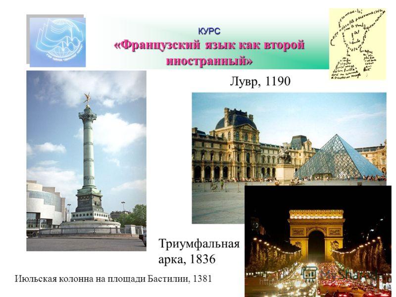 КУРС «Французский язык как второй иностранный» Июльская колонна на площади Бастилии, 1381 Лувр, 1190 Триумфальная арка, 1836