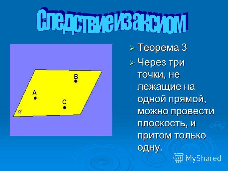 Теорема 3 Теорема 3 Через три точки, не лежащие на одной прямой, можно провести плоскость, и притом только одну. Через три точки, не лежащие на одной прямой, можно провести плоскость, и притом только одну.
