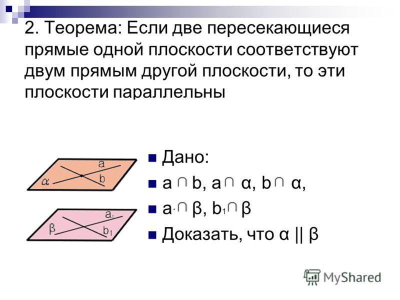 2. Теорема: Если две пересекающиеся прямые одной плоскости соответствуют двум прямым другой плоскости, то эти плоскости параллельны Дано: a b, a α, b α, a 1 β, b 1 β Доказать, что α || β