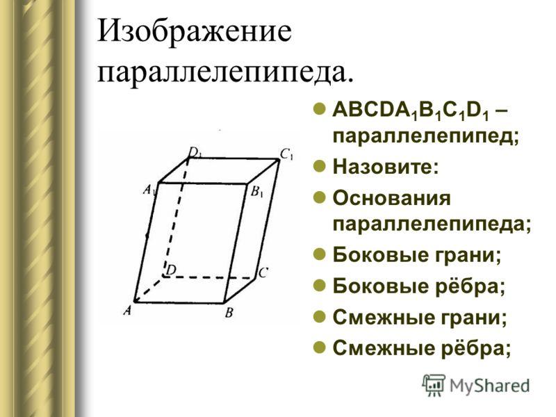 Изображение параллелепипеда. ABCDA 1 B 1 C 1 D 1 – параллелепипед; Назовите: Основания параллелепипеда; Боковые грани; Боковые рёбра; Смежные грани; Смежные рёбра;