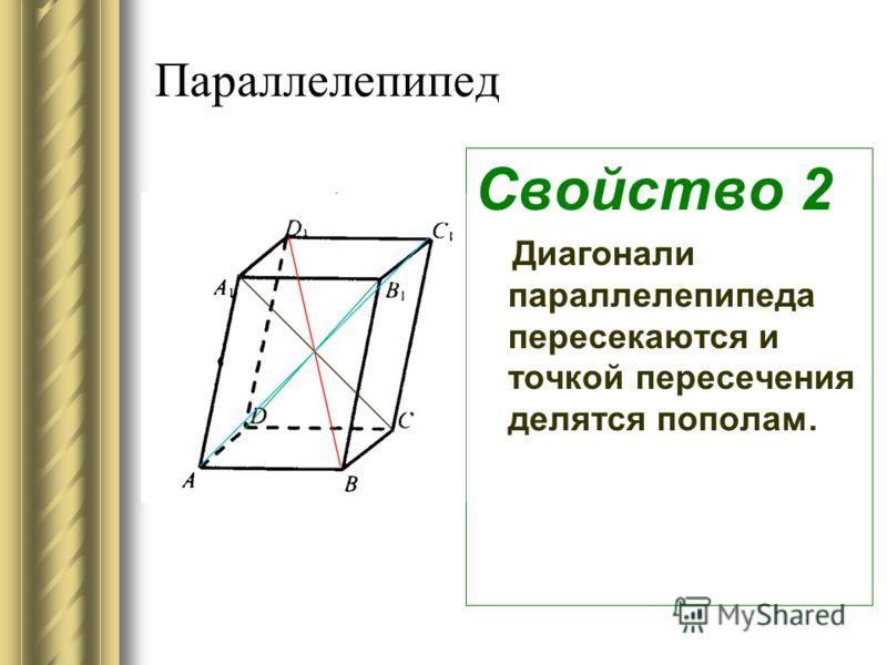 Параллелепипед Свойство 2 Диагонали параллелепипеда пересекаются и точкой пересечения делятся пополам.