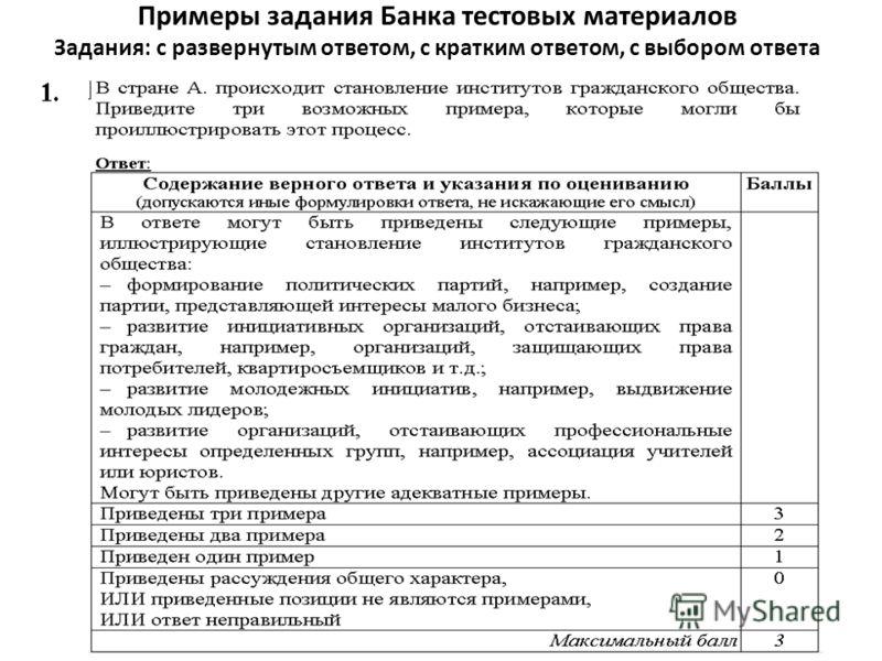 Примеры задания Банка тестовых материалов Задания: с развернутым ответом, с кратким ответом, с выбором ответа