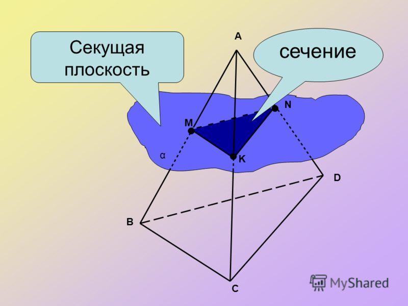 сечение A B C D M N K α