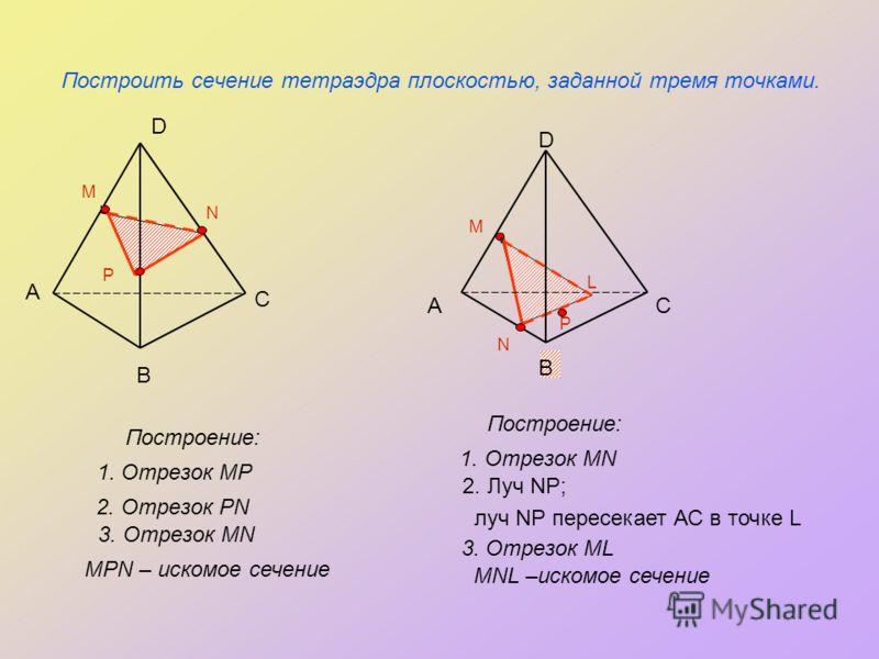 P N Построить сечение тетраэдра плоскостью, заданной тремя точками. Построение: А В С D P M N 2. Отрезок PN А В С D M L 1. Отрезок MP Построение: 3. Отрезок MN MPN – искомое сечение 1. Отрезок MN 2. Луч NP; луч NP пересекает АС в точке L 3. Отрезок M