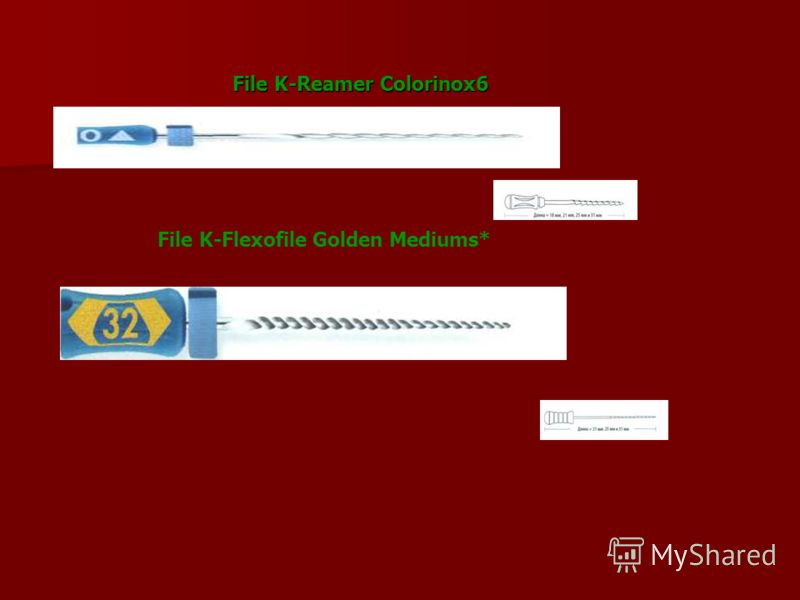 File K-Reamer Colorinox6 File K-Flexofile Golden Mediums*