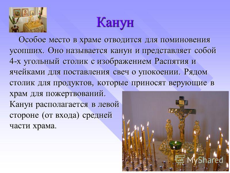 Канун Особое место в храме отводится для поминовения усопших. Оно называется канун и представляет собой 4-х угольный столик с изображением Распятия и ячейками для поставления свеч о упокоении. Рядом столик для продуктов, которые приносят верующие в х