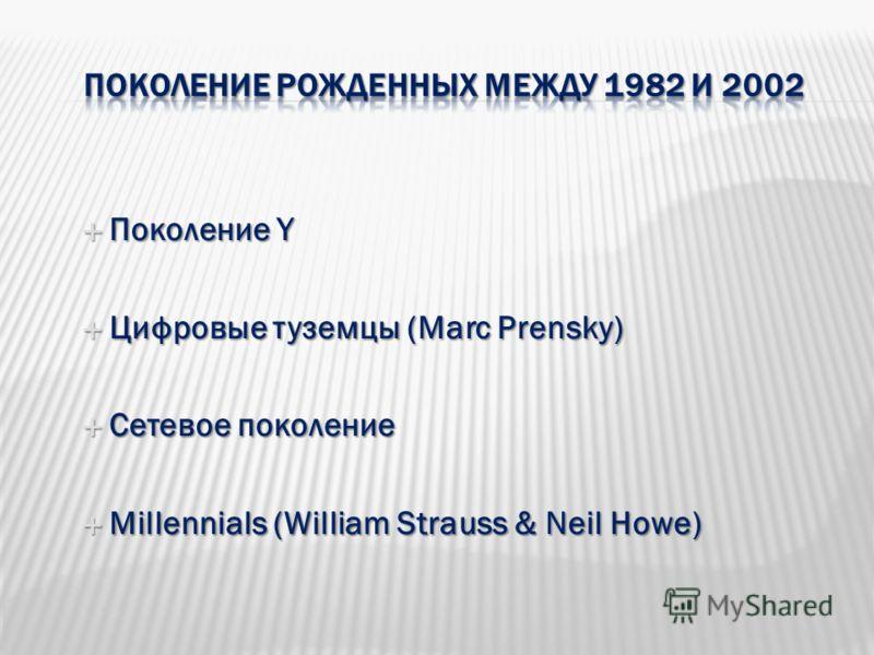 Поколение Y Поколение Y Цифровые туземцы (Marc Prensky) Цифровые туземцы (Marc Prensky) Сетевое поколение Сетевое поколение Millennials (William Strauss & Neil Howe) Millennials (William Strauss & Neil Howe)