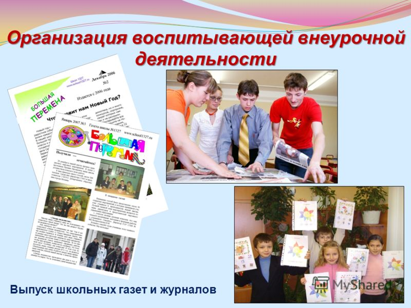 Организация воспитывающей внеурочной деятельности Выпуск школьных газет и журналов