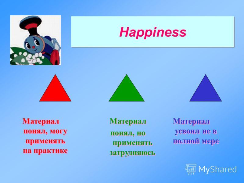 Happiness Материал понял, могу применять на практике Материал понял, но применять затрудняюсь Материал понял, но применять затрудняюсь Материал усвоил не в полной мере