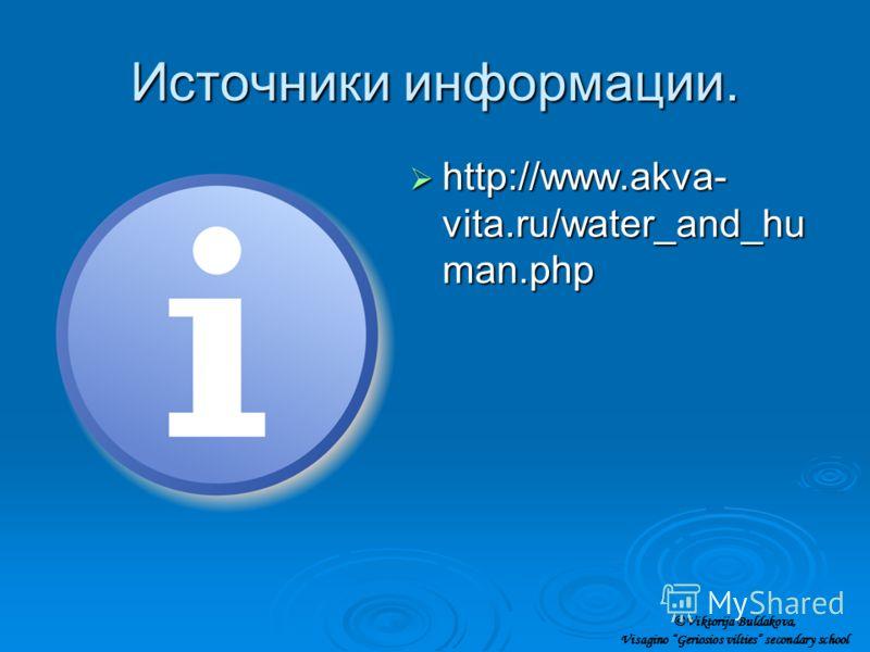 Источники информации. http://www.akva- vita.ru/water_and_hu man.php http://www.akva- vita.ru/water_and_hu man.php ©Viktorija Buldakova, Visagino Geriosios vilties secondary school