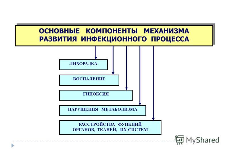 ОСНОВНЫЕ КОМПОНЕНТЫ МЕХАНИЗМА РАЗВИТИЯ ИНФЕКЦИОННОГО ПРОЦЕССА ОСНОВНЫЕ КОМПОНЕНТЫ МЕХАНИЗМА РАЗВИТИЯ ИНФЕКЦИОННОГО ПРОЦЕССА ЛИХОРАДКА ГИПОКСИЯ ВОСПАЛЕНИЕ РАССТРОЙСТВА ФУНКЦИЙ ОРГАНОВ, ТКАНЕЙ, ИХ СИСТЕМ НАРУШЕНИЯ МЕТАБОЛИЗМА