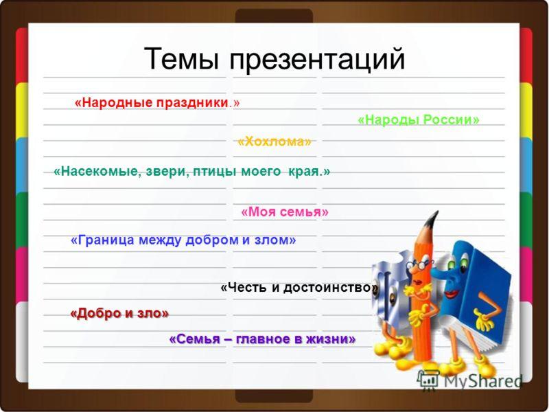 Темы презентаций «Народные праздники.» «Хохлома» «Насекомые, звери, птицы моего края.» «Моя семья» «Граница между добром и злом» «Народы России» «Честь и достоинство» «Добро и зло» «Семья – главное в жизни»