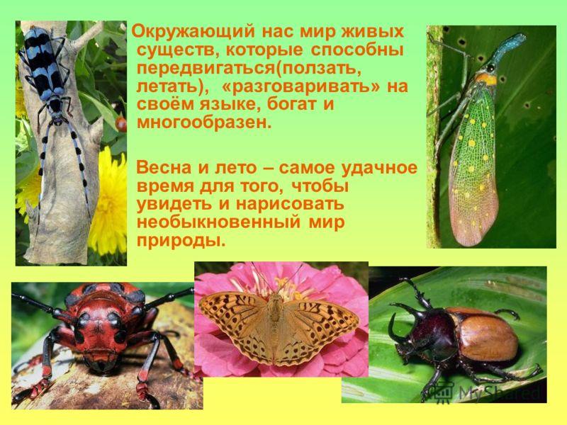 Окружающий нас мир живых существ, которые способны передвигаться(ползать, летать), «разговаривать» на своём языке, богат и многообразен. Весна и лето – самое удачное время для того, чтобы увидеть и нарисовать необыкновенный мир природы.