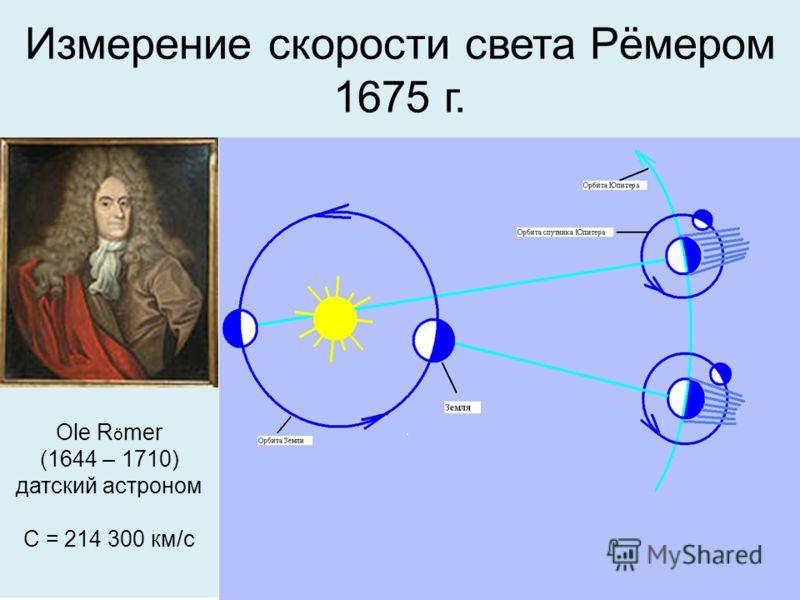 Измерение скорости света Рёмером 1675 г. Ole R ö mer (1644 – 1710) датский астроном С = 214 300 км/с