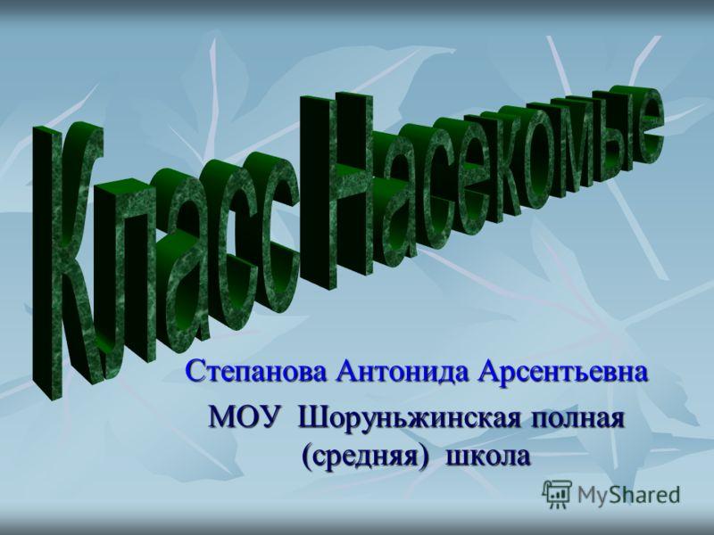 Степанова Антонида Арсентьевна МОУ Шоруньжинская полная (средняя) школа