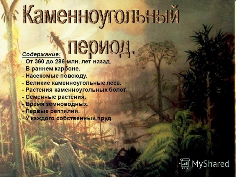 Содержание: - От 360 до 286 млн. лет назад. - В раннем карбоне. - Насекомые повсюду. - Великие каменноугольные леса. - Растения каменноугольных болот. - Семенные растения. - Время земноводных. - Первые рептилии. - У каждого собственный пруд.
