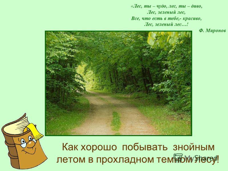 «Лес, ты – чудо, лес, ты – диво, Лес, зеленый лес, Все, что есть в тебе,- красиво, Лес, зеленый лес…! Ф. Миронов Как хорошо побывать знойным летом в прохладном темном лесу!