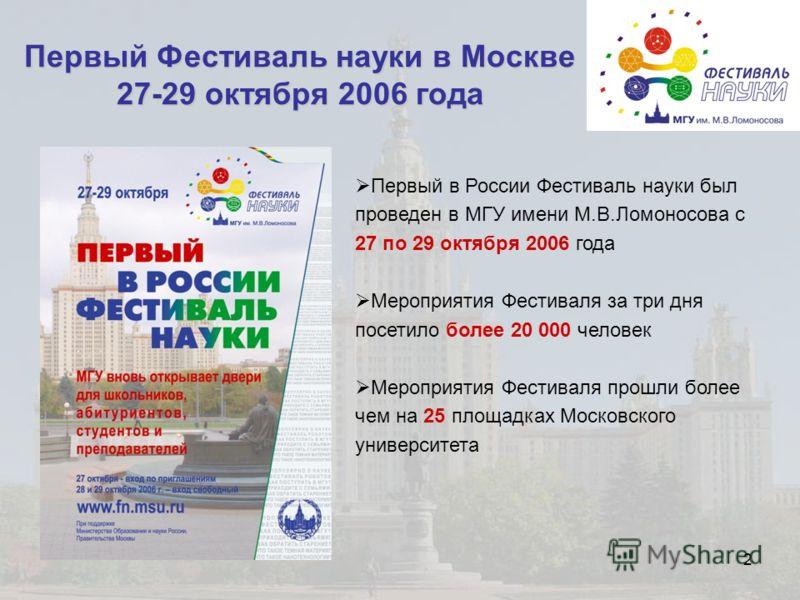 2 Первый Фестиваль науки в Москве 27-29 октября 2006 года Первый в России Фестиваль науки был проведен в МГУ имени М.В.Ломоносова с 27 по 29 октября 2006 года Мероприятия Фестиваля за три дня посетило более 20 000 человек Мероприятия Фестиваля прошли