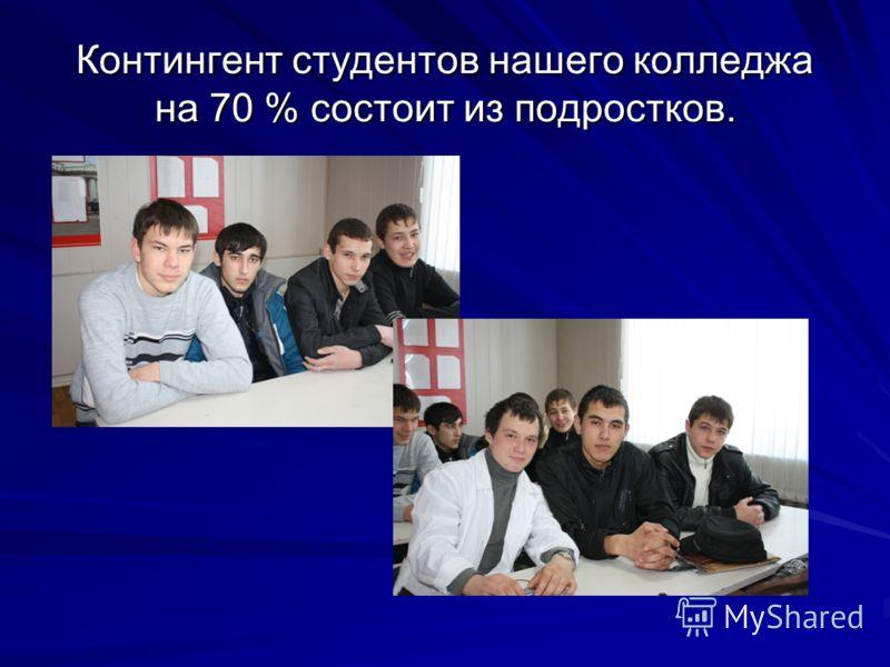 Контингент студентов нашего колледжа на 70 % состоит из подростков.