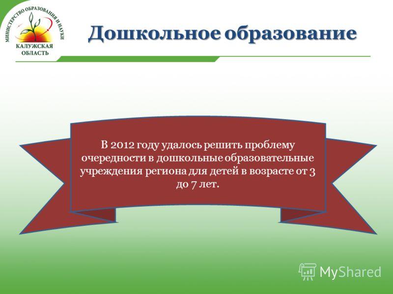 Дошкольное образование В 2012 году удалось решить проблему очередности в дошкольные образовательные учреждения региона для детей в возрасте от 3 до 7 лет.