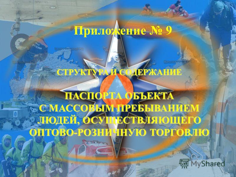 СТРУКТУРА И СОДЕРЖАНИЕ ПАСПОРТА ОБЪЕКТА С МАССОВЫМ ПРЕБЫВАНИЕМ ЛЮДЕЙ, ОСУЩЕСТВЛЯЮЩЕГО ОПТОВО-РОЗНИЧНУЮ ТОРГОВЛЮ Приложение 9