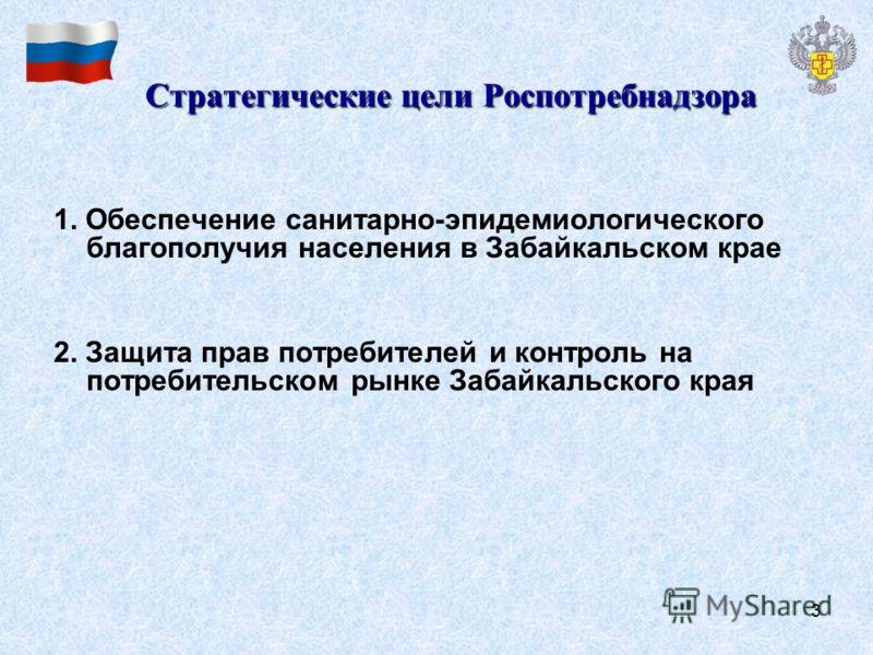 3 Стратегические цели Роспотребнадзора 1. Обеспечение санитарно-эпидемиологического благополучия населения в Забайкальском крае 2. Защита прав потребителей и контроль на потребительском рынке Забайкальского края