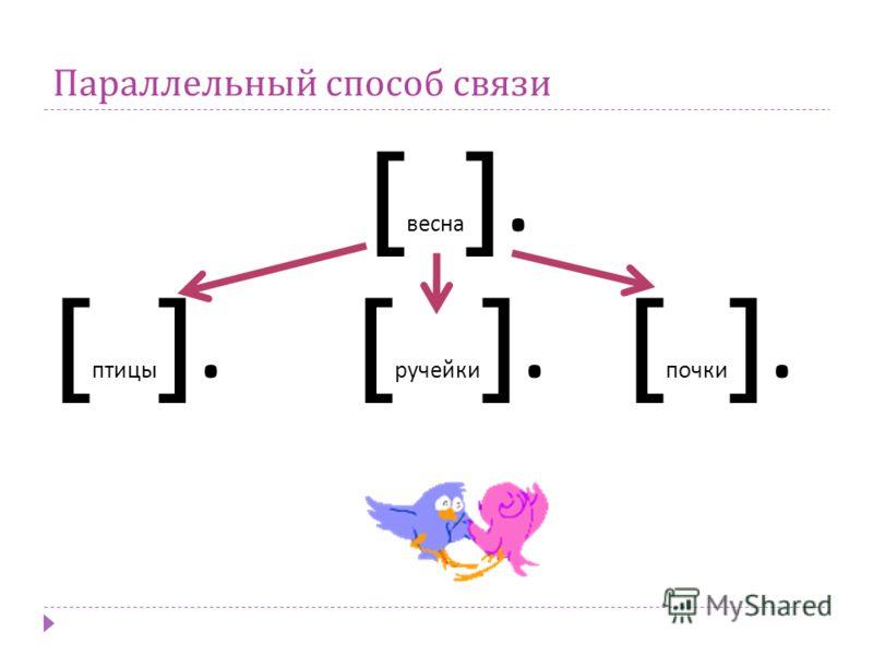 Параллельный способ связи [ весна ]. [ птицы ]. [ ручейки ]. [ почки ].