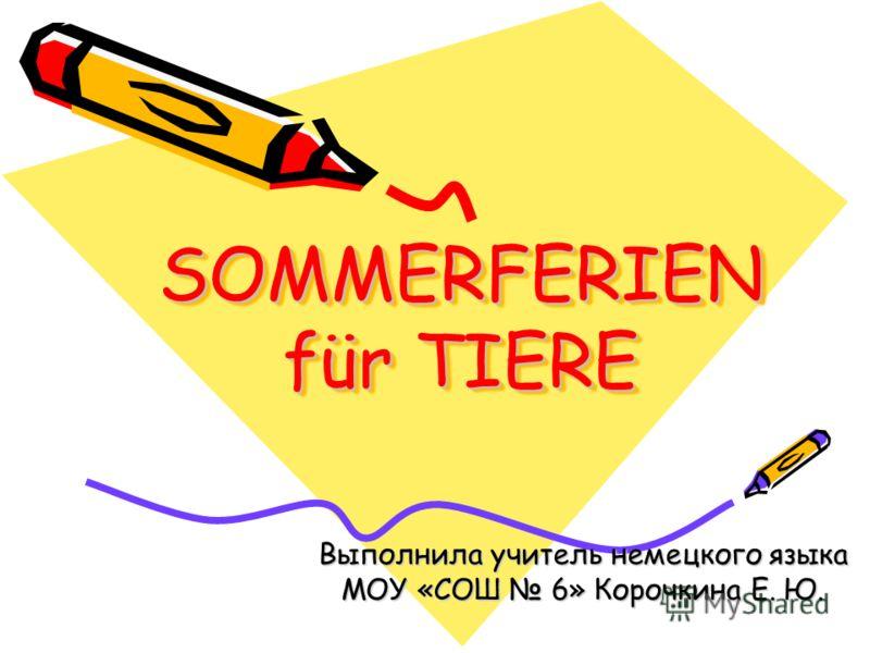 SOMMERFERIEN für TIERE Выполнила учитель немецкого языка МОУ «СОШ 6» Корочкина Е. Ю.