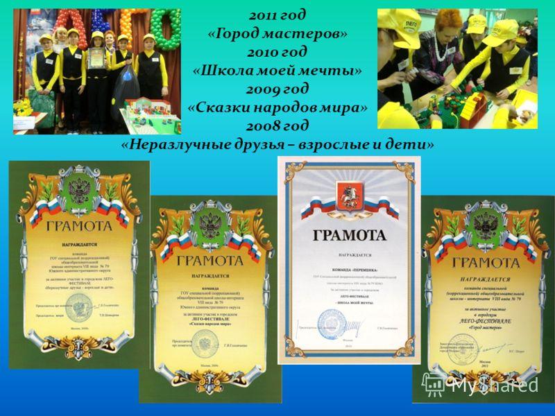 2011 год «Город мастеров» 2010 год «Школа моей мечты» 2009 год «Сказки народов мира» 2008 год «Неразлучные друзья – взрослые и дети»