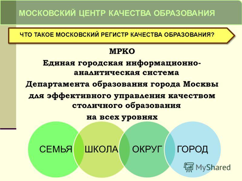МРКО Единая городская информационно- аналитическая система Департамента образования города Москвы для эффективного управления качеством столичного образования на всех уровнях МОСКОВСКИЙ ЦЕНТР КАЧЕСТВА ОБРАЗОВАНИЯ ЧТО ТАКОЕ МОСКОВСКИЙ РЕГИСТР КАЧЕСТВА
