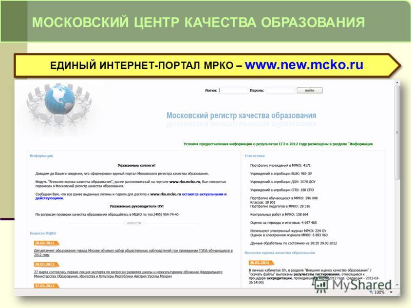 МОСКОВСКИЙ ЦЕНТР КАЧЕСТВА ОБРАЗОВАНИЯ ЕДИНЫЙ ИНТЕРНЕТ-ПОРТАЛ МРКО – www.new.mcko.ru