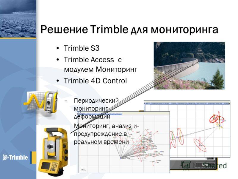 Решение Trimble для мониторинга Trimble S 3 Trimble Access с модулем Мониторинг Trimble 4D Control –Периодический мониторинг деформаций –Мониторинг, анализ и предупреждение в реальном времени