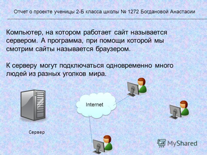 Компьютер, на котором работает сайт называется сервером. А программа, при помощи которой мы смотрим сайты называется браузером. К серверу могут подключаться одновременно много людей из разных уголков мира. Отчет о проекте ученицы 2-Б класса школы 127