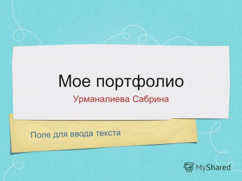 Поле для ввода текста Мое портфолио Урманалиева Сабрина