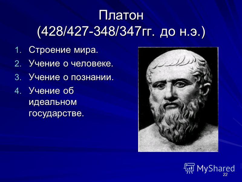 22 Платон (428/427-348/347гг. до н.э.) 1. Строение мира. 2. Учение о человеке. 3. Учение о познании. 4. Учение об идеальном государстве.