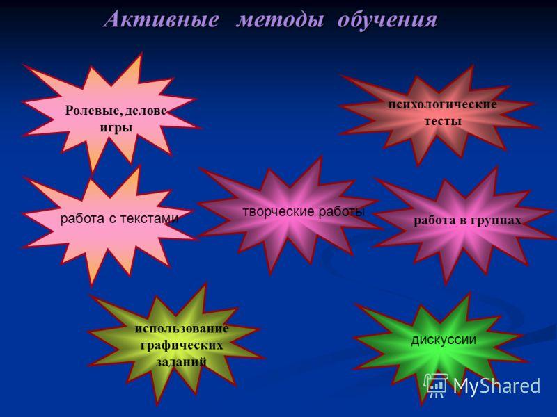 психологические тесты Активные методы обучения Ролевые, делове игры использование графических заданий работа в группах творческие работы дискуссии работа с текстами
