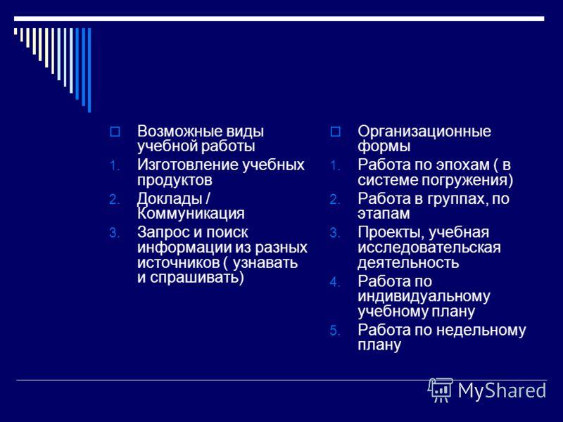 Возможные виды учебной работы 1. Изготовление учебных продуктов 2. Доклады / Коммуникация 3. Запрос и поиск информации из разных источников ( узнавать и спрашивать) Организационные формы 1. Работа по эпохам ( в системе погружения) 2. Работа в группах