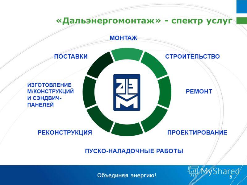 Объединяя энергию! 5 «Дальэнергомонтаж» - спектр услуг ПРОЕКТИРОВАНИЕ СТРОИТЕЛЬСТВО ПУСКО-НАЛАДОЧНЫЕ РАБОТЫ МОНТАЖ РЕМОНТ РЕКОНСТРУКЦИЯ ИЗГОТОВЛЕНИЕ М/КОНСТРУКЦИЙ И СЭНДВИЧ- ПАНЕЛЕЙ ПОСТАВКИ