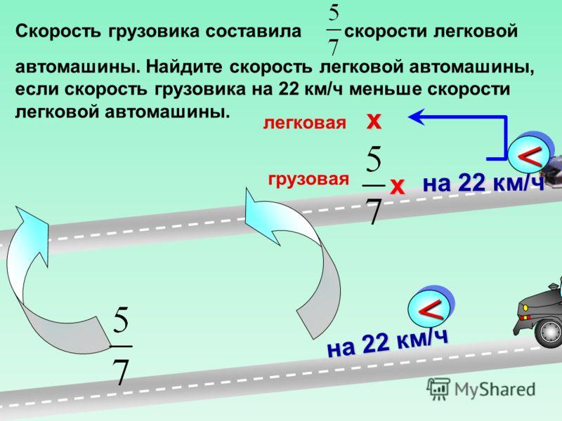 Скорость грузовика составила скорости легковой автомашины. Найдите скорость легковой автомашины, если скорость грузовика на 22 км/ч меньше скорости легковой автомашины. на 22 км/ч