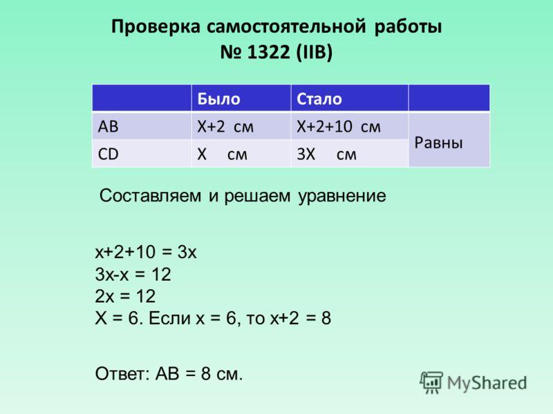 Проверка самостоятельной работы 1322 (IIВ) БылоСтало АВХ+2 смХ+2+10 см Равны CDХ см3Х см Составляем и решаем уравнение х+2+10 = 3х 3х-х = 12 2х = 12 Х = 6. Если х = 6, то х+2 = 8 Ответ: АВ = 8 см.