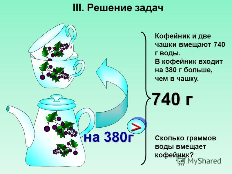 Кофейник и две чашки вмещают 740 г воды. В кофейник входит на 380 г больше, чем в чашку. Сколько граммов воды вмещает кофейник? >> на 380г 740 г III. Решение задач :