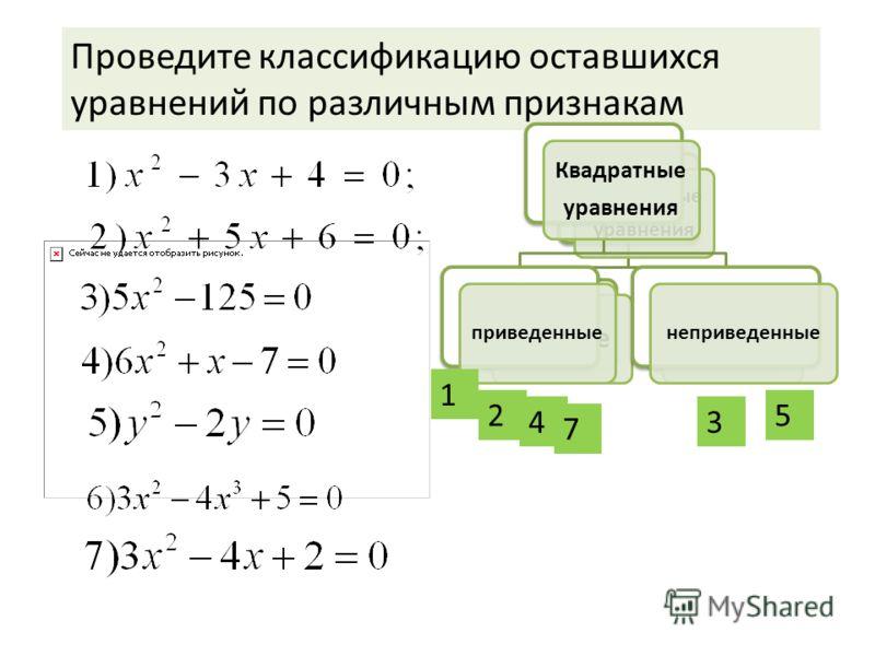 Какое уравнение лишнее? Квадратные уравнения полные неполные Проведите классификацию оставшихся уравнений по различным признакам Квадратные уравнения приведенныенеприведенные 1 2 3 5 4 7