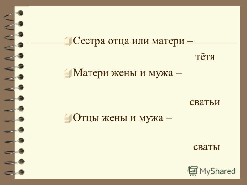 Мать жены – тёща Мать мужа – свекровь Отец жены – тесть Отец мужа – свёкор