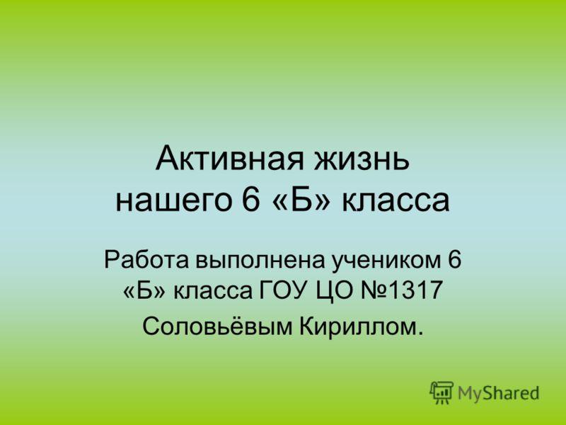 Активная жизнь нашего 6 «Б» класса Работа выполнена учеником 6 «Б» класса ГОУ ЦО 1317 Соловьёвым Кириллом.